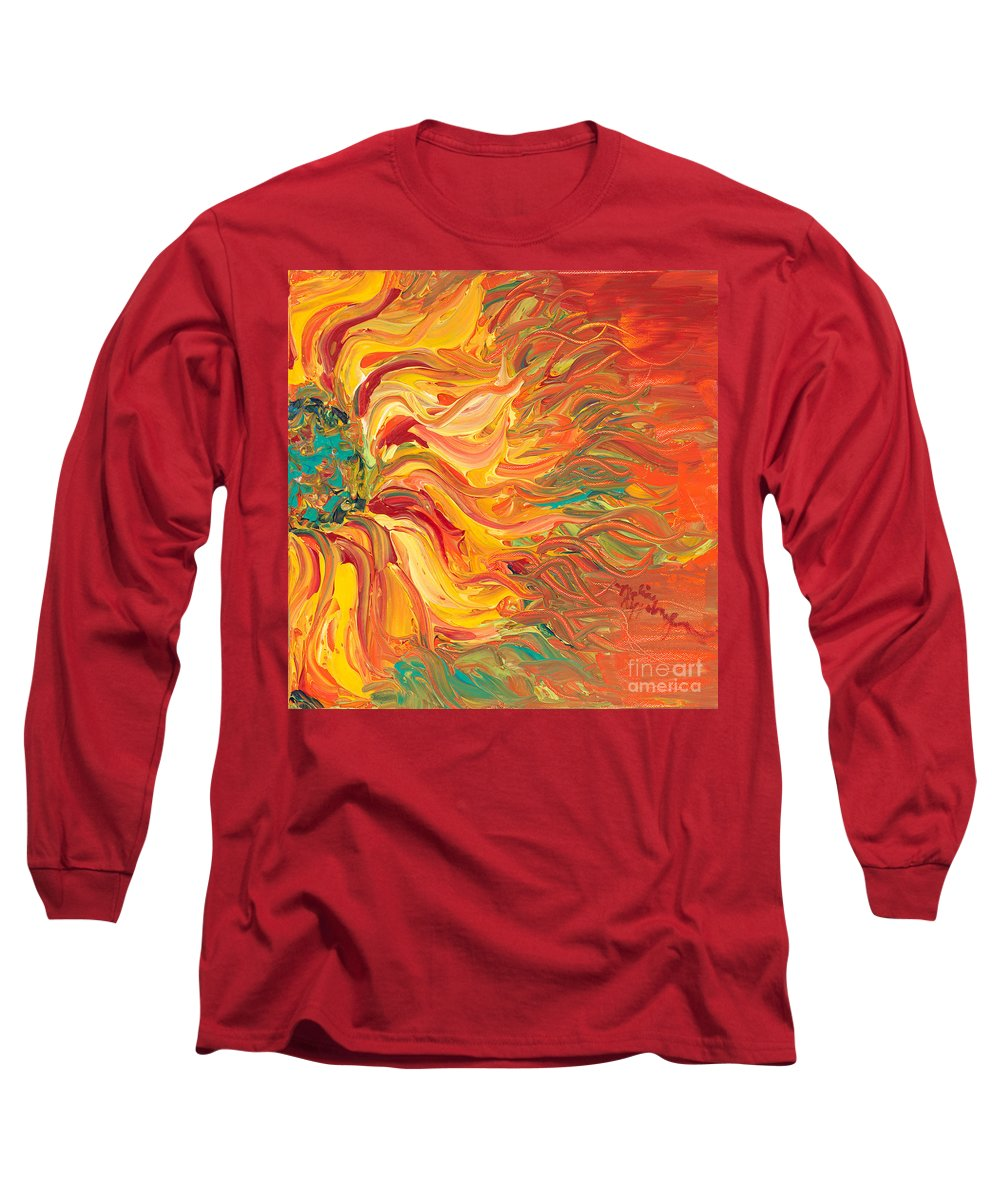 Sunjflower Long Sleeve T-Shirt featuring the painting Textured Fire Sunflower by Nadine Rippelmeyer