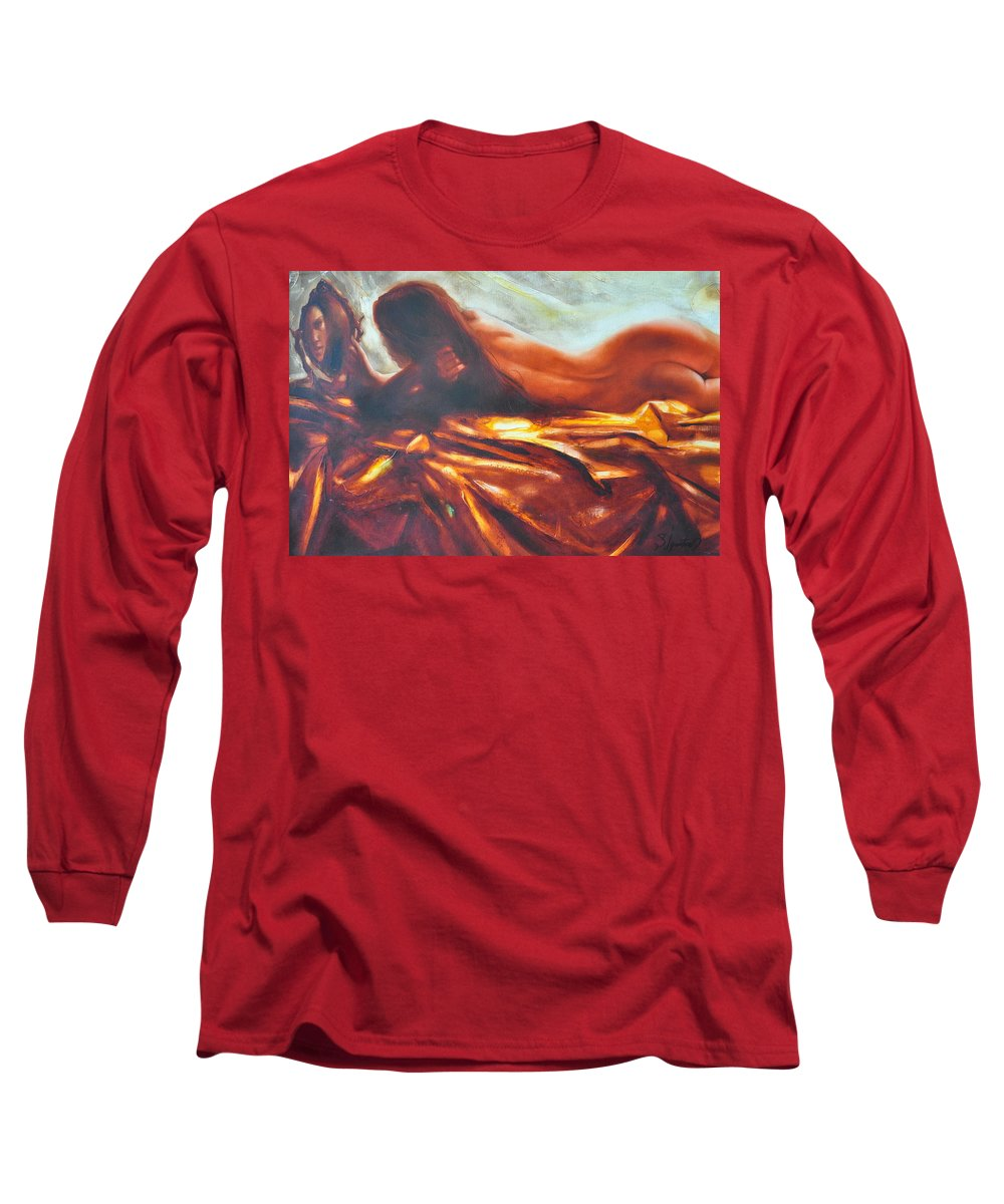 Painting Long Sleeve T-Shirt featuring the painting The Amber Speck Of Light by Sergey Ignatenko