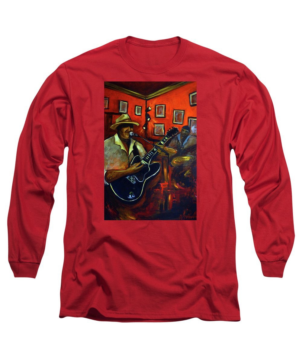 Blues Long Sleeve T-Shirt featuring the painting The Back Room by Valerie Vescovi