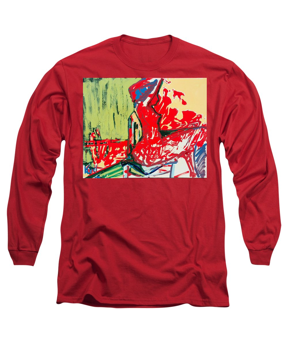 Woman Long Sleeve T-Shirt featuring the painting The Blue Chair by Kurt Hausmann