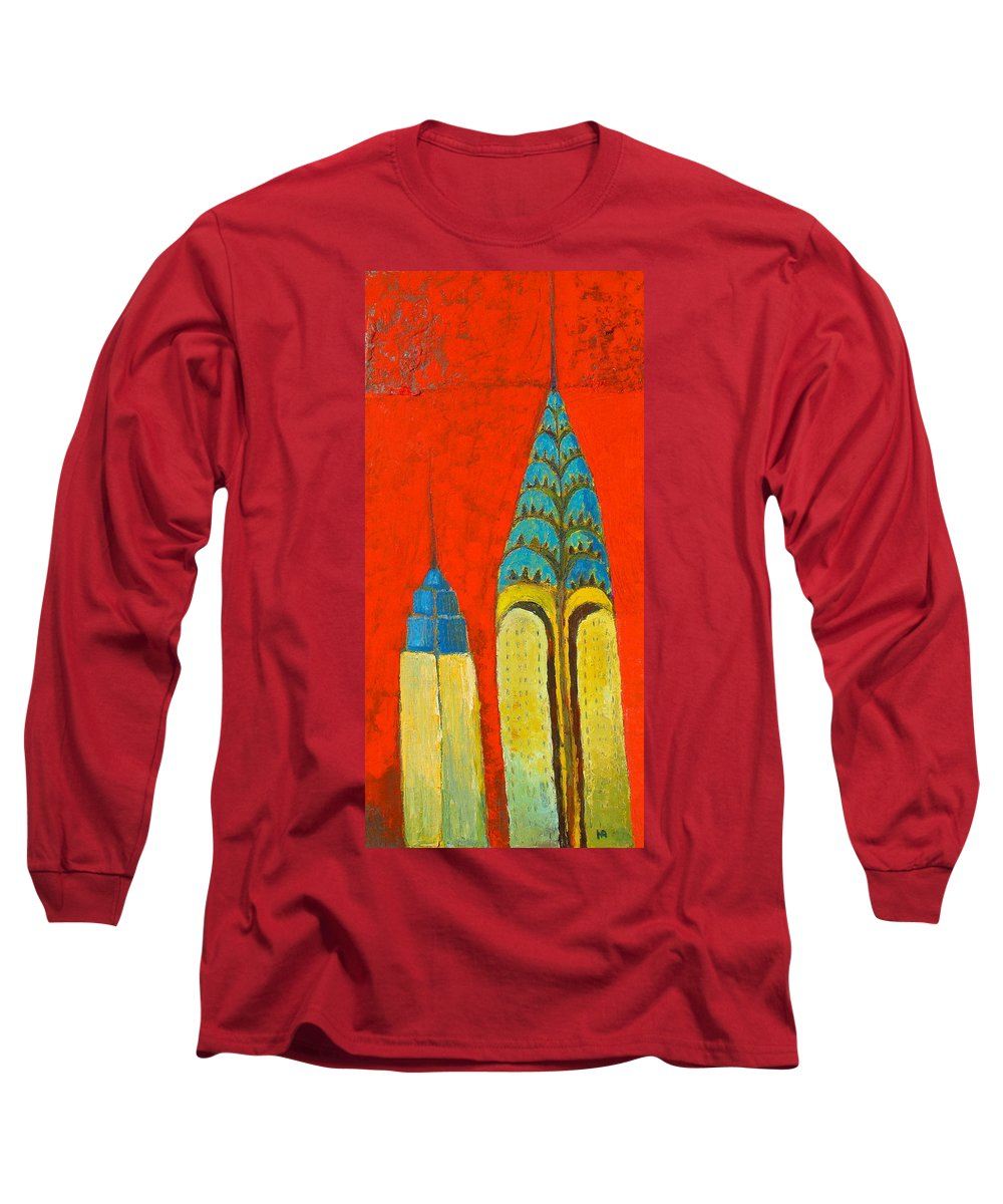 Long Sleeve T-Shirt featuring the painting The Chrysler And The Empire State by Habib Ayat