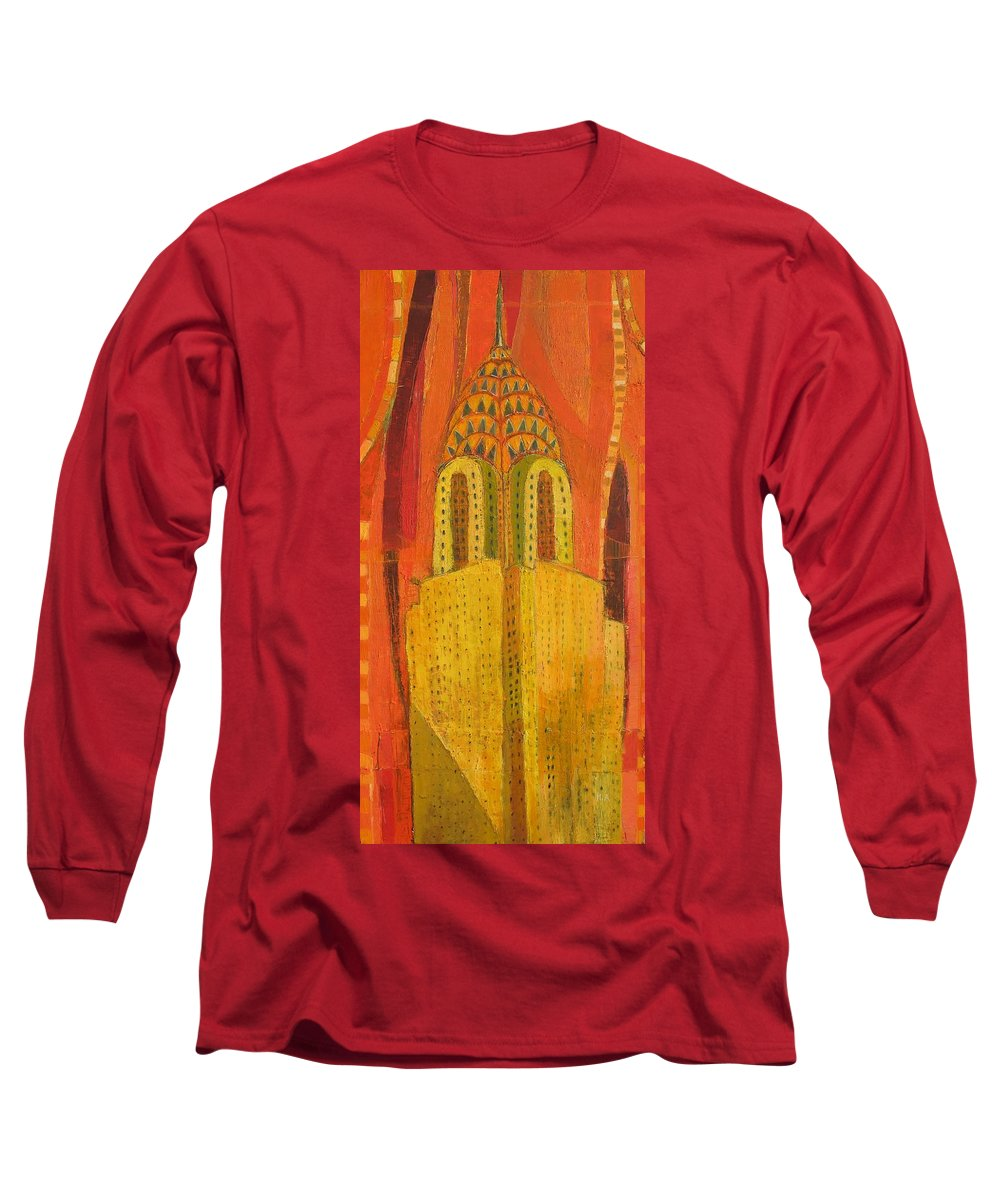Abstract Cityscape Long Sleeve T-Shirt featuring the painting The Chrysler In Red by Habib Ayat