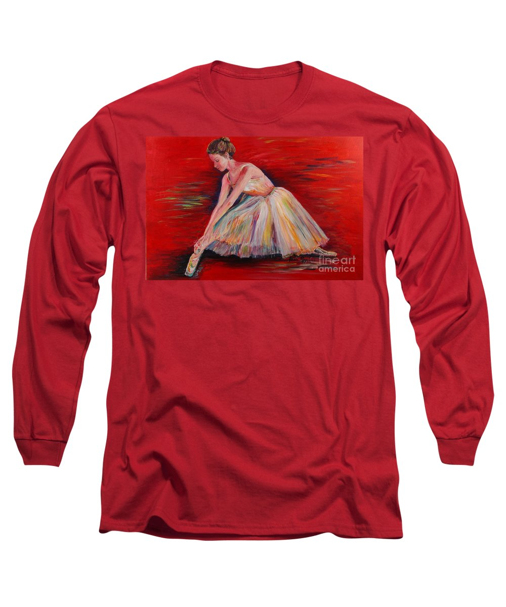 Dancer Long Sleeve T-Shirt featuring the painting The Dancer by Nadine Rippelmeyer