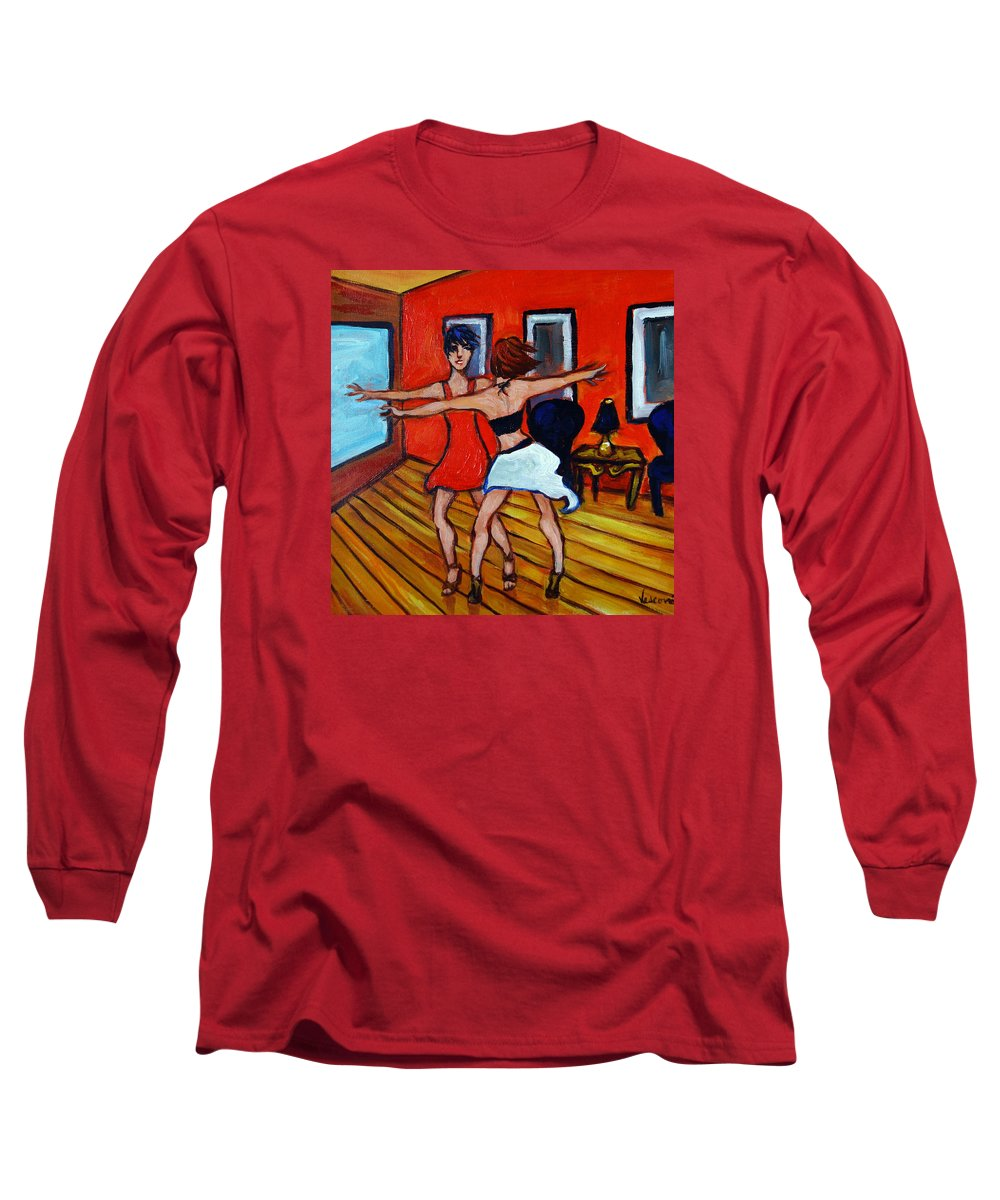 Dancers Long Sleeve T-Shirt featuring the painting The Dancers by Valerie Vescovi