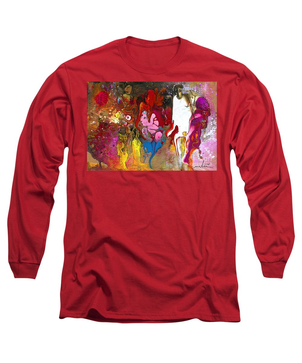 Miki Long Sleeve T-Shirt featuring the painting The First Wedding by Miki De Goodaboom