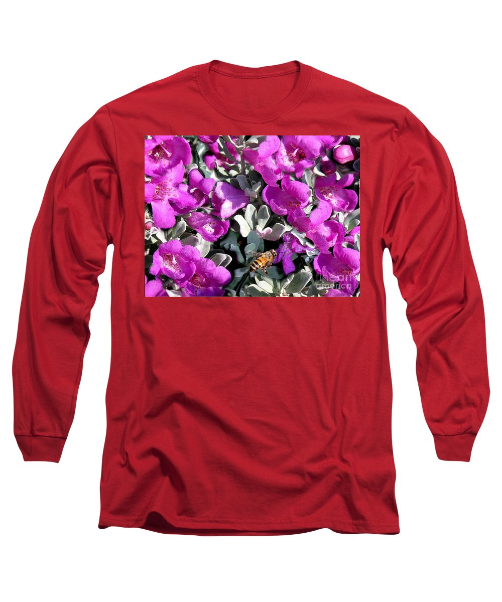Nature Long Sleeve T-Shirt featuring the photograph The Flight Of The Bumble Bee by Lucyna A M Green