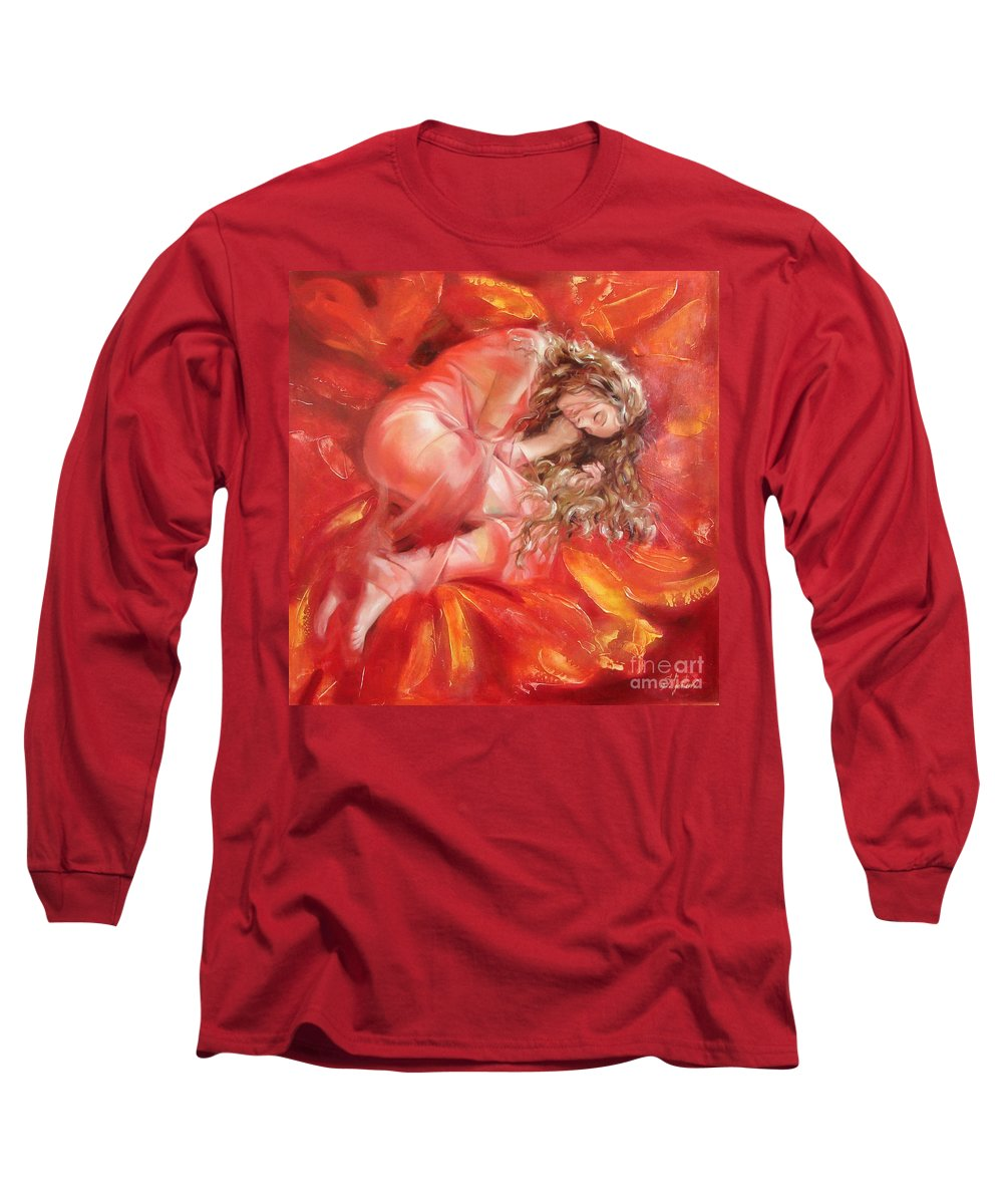 Oil Long Sleeve T-Shirt featuring the painting The Flower Paradise by Sergey Ignatenko