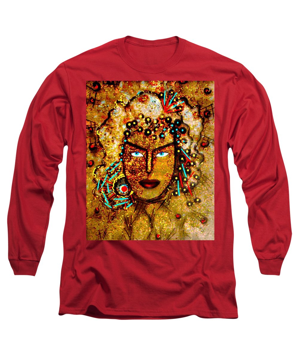 Goddess Long Sleeve T-Shirt featuring the painting The Golden Goddess by Natalie Holland