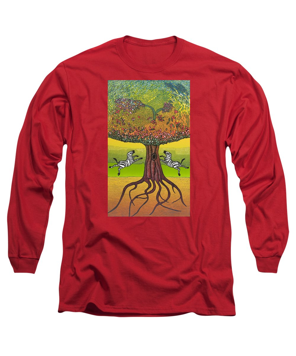 Landscape Long Sleeve T-Shirt featuring the mixed media The Life-giving Tree. by Jarle Rosseland