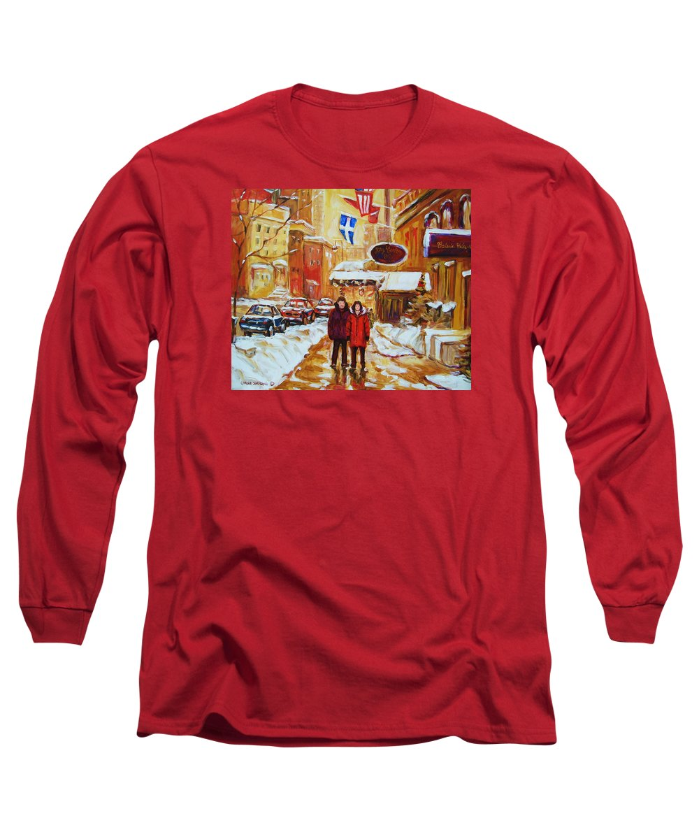 Streetscene Long Sleeve T-Shirt featuring the painting The Ritz Carlton by Carole Spandau