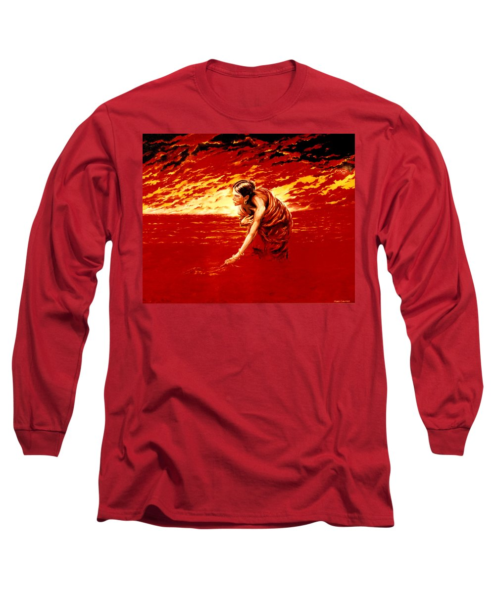 Seascape Long Sleeve T-Shirt featuring the painting Tsunami by Mark Cawood
