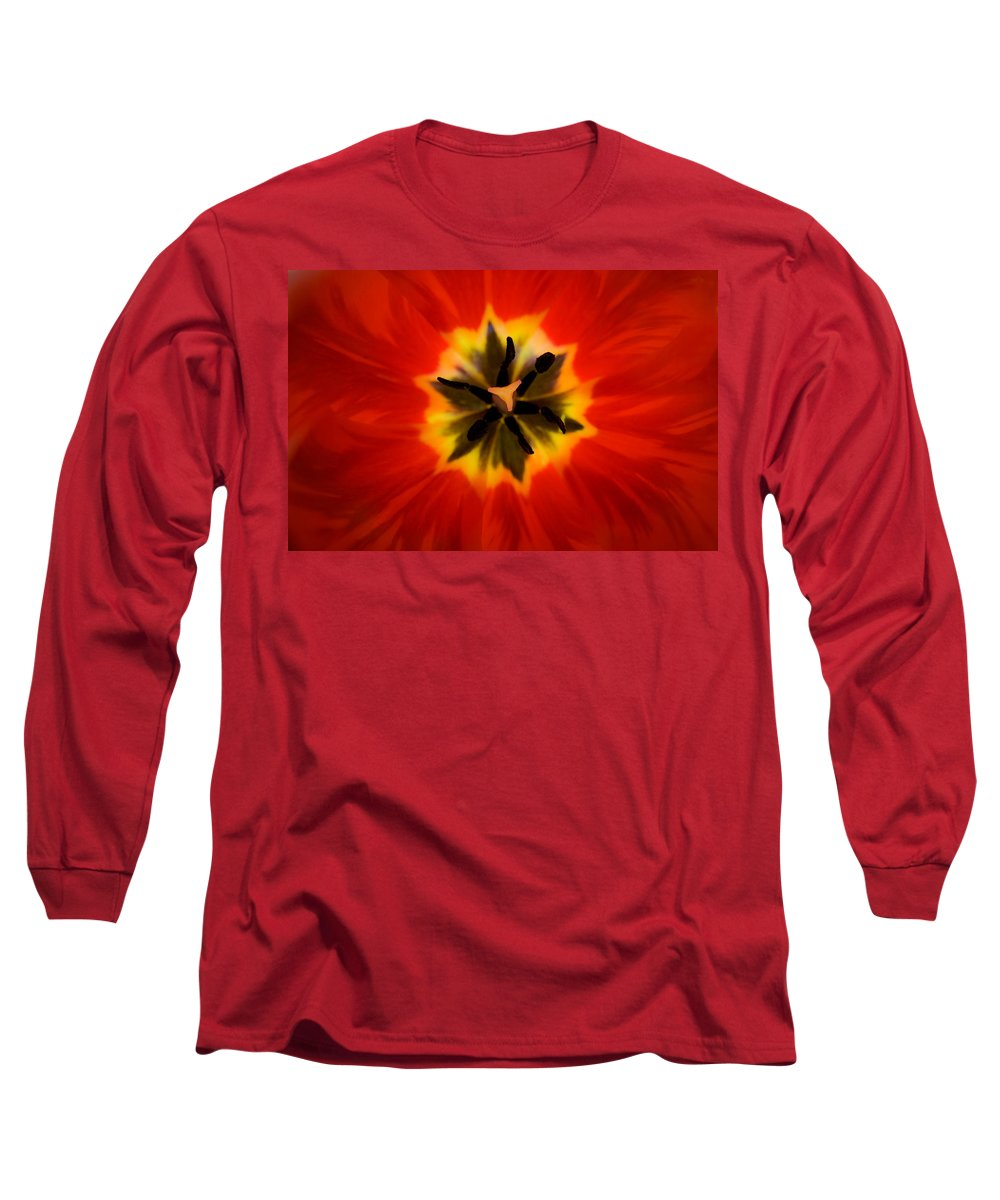 Tulip Long Sleeve T-Shirt featuring the photograph Tulip Explosion Kaleidoscope by Teresa Mucha