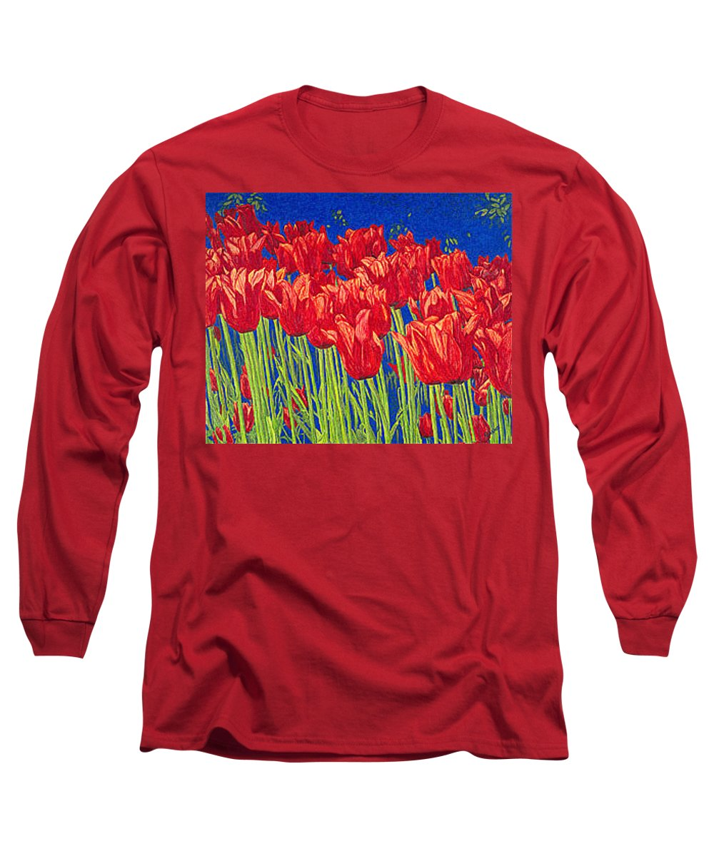 Tulips Long Sleeve T-Shirt featuring the drawing Tulips Tulip Flowers Fine Art Print Giclee High Quality Exceptional Color Garden Nature Botanical by Baslee Troutman