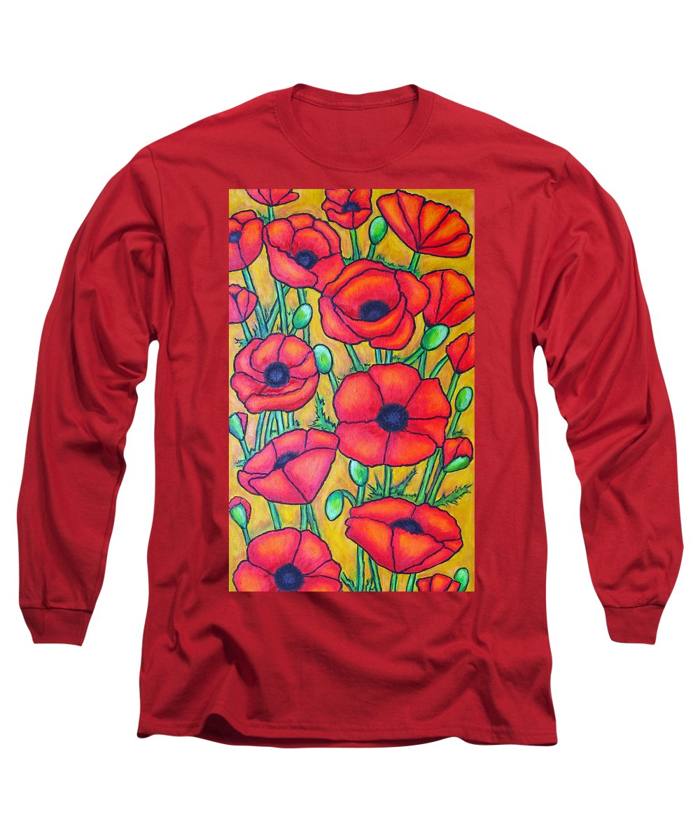 Poppies Long Sleeve T-Shirt featuring the painting Tuscan Poppies - Crop 1 by Lisa Lorenz