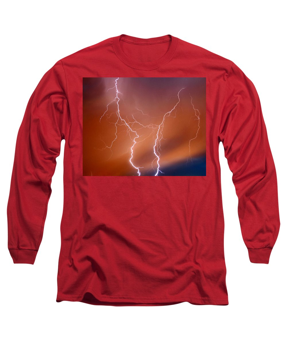 Lightning Long Sleeve T-Shirt featuring the photograph Twin Strike by Anthony Jones