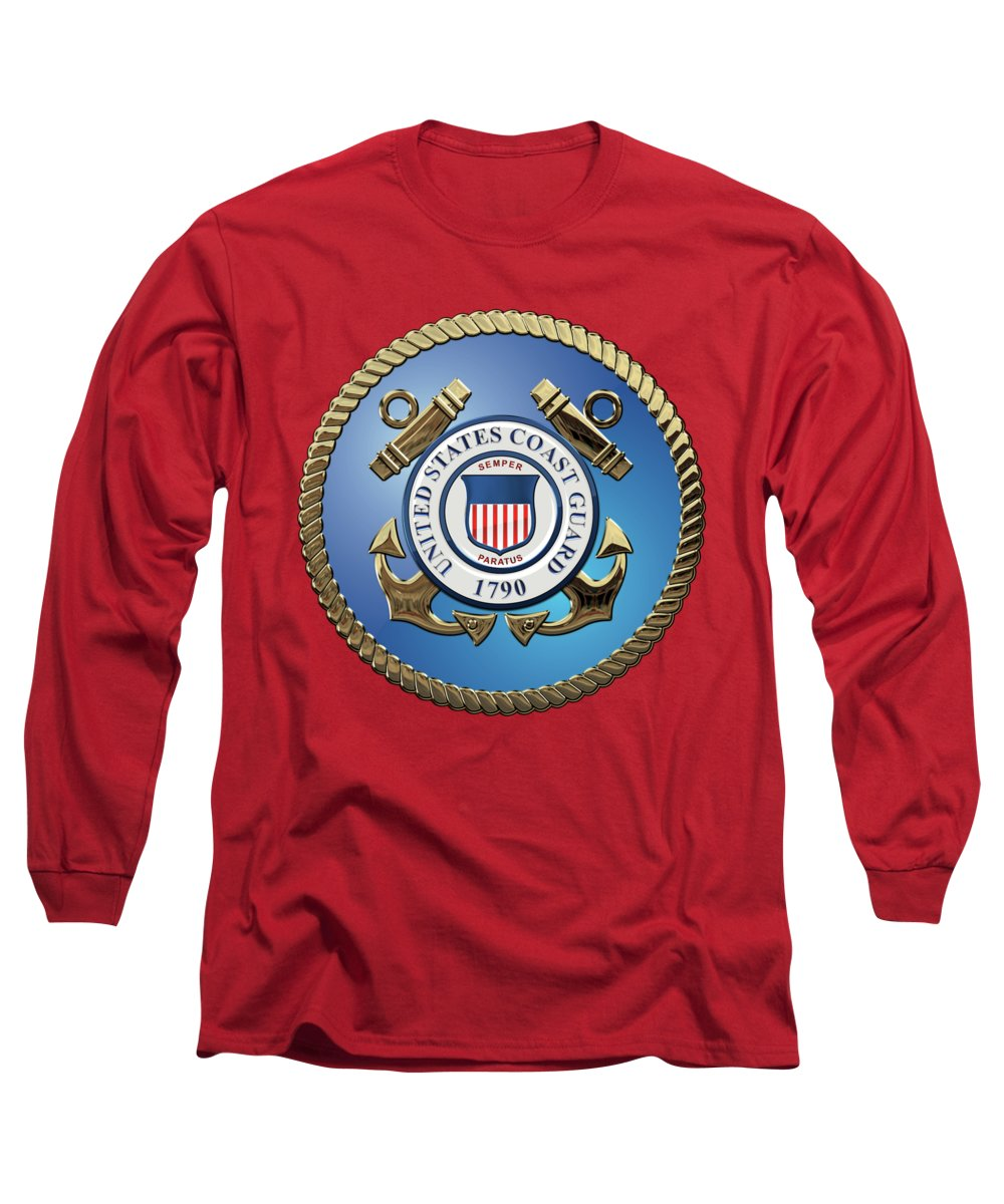 'military Insignia & Heraldry 3d' Collection By Serge Averbukh Long Sleeve T-Shirt featuring the digital art U. S. Coast Guard - U S C G Emblem by Serge Averbukh