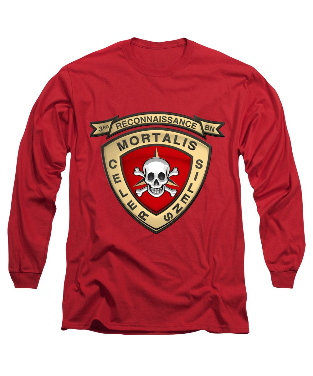 'military Insignia & Heraldry' Collection By Serge Averbukh Long Sleeve T-Shirt featuring the digital art U S M C 3rd Reconnaissance Battalion - 3rd Recon Bn Insignia Over Red Velvet by Serge Averbukh