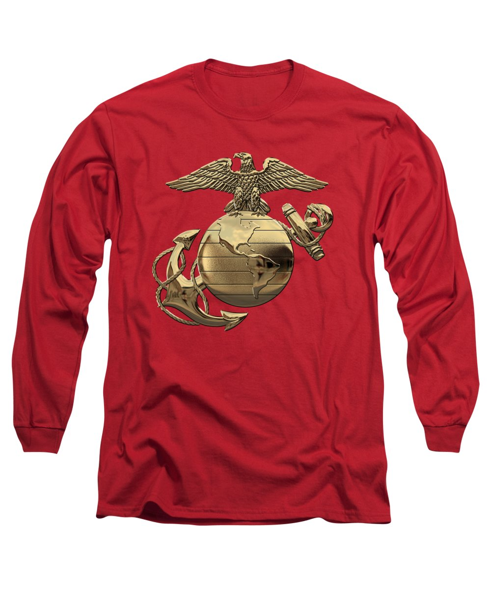 'usmc' Collection By Serge Averbukh Long Sleeve T-Shirt featuring the digital art U S M C Eagle Globe And Anchor - N C O And Enlisted E G A Over Red Velvet by Serge Averbukh