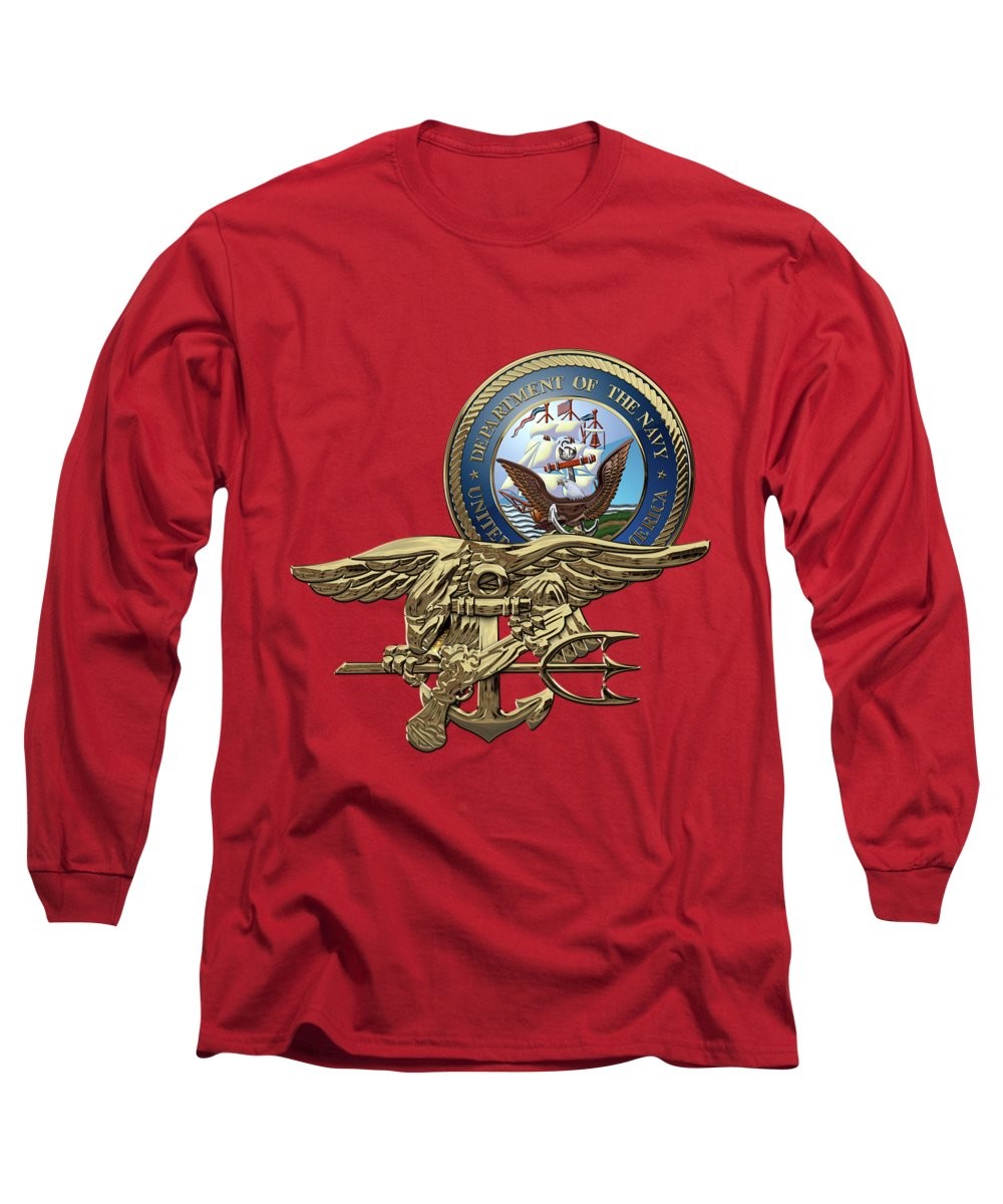 'military Insignia & Heraldry 3d' Collection By Serge Averbukh Long Sleeve T-Shirt featuring the digital art U. S. Navy S E A Ls Trident Over Red Velvet by Serge Averbukh