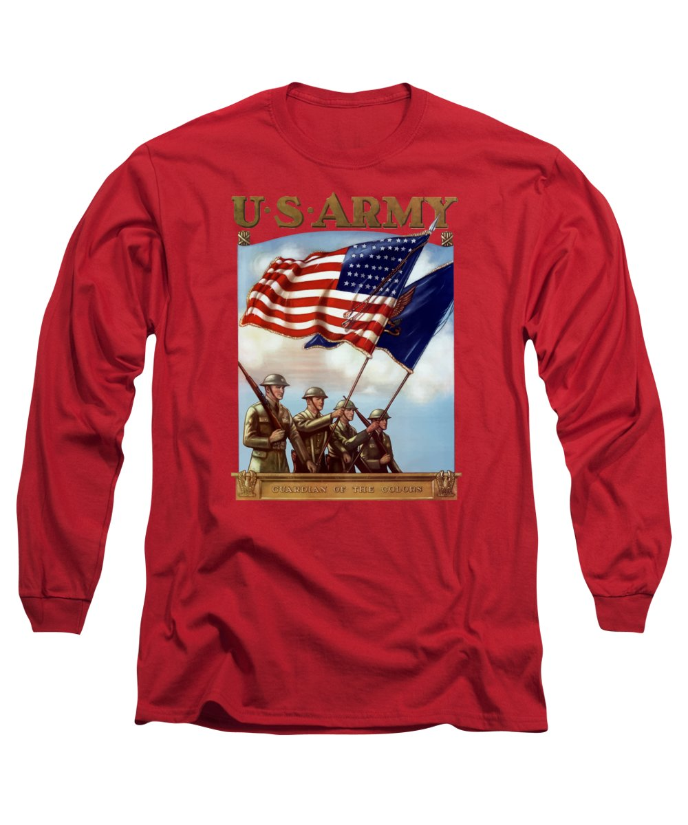 Us Army Long Sleeve T-Shirt featuring the painting Us Army -- Guardian Of The Colors by War Is Hell Store