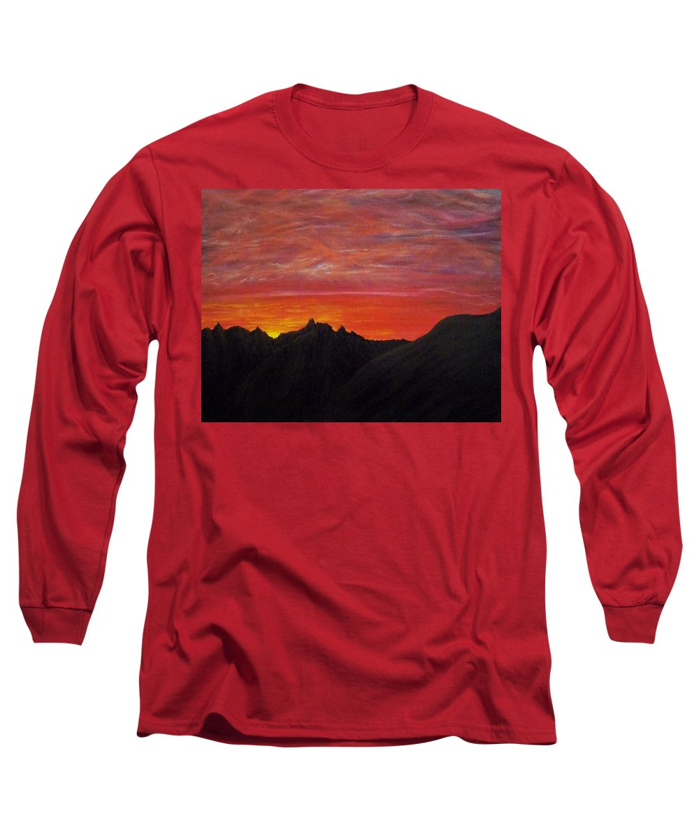 Sunset Long Sleeve T-Shirt featuring the painting Utah Sunset by Michael Cuozzo
