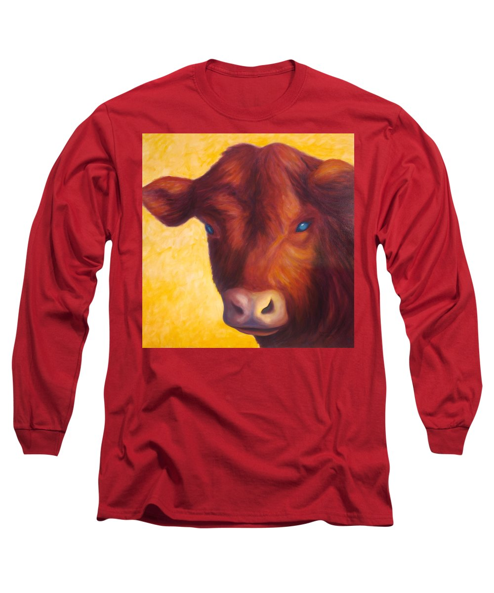 Bull Long Sleeve T-Shirt featuring the painting Vern by Shannon Grissom