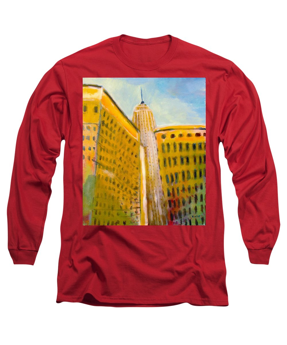 Abstract Cityscape Long Sleeve T-Shirt featuring the painting View From The 33 St by Habib Ayat