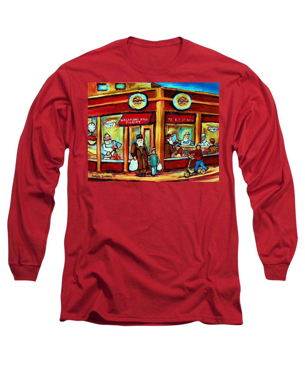Montreal Long Sleeve T-Shirt featuring the painting Waldmans In Montreal by Carole Spandau