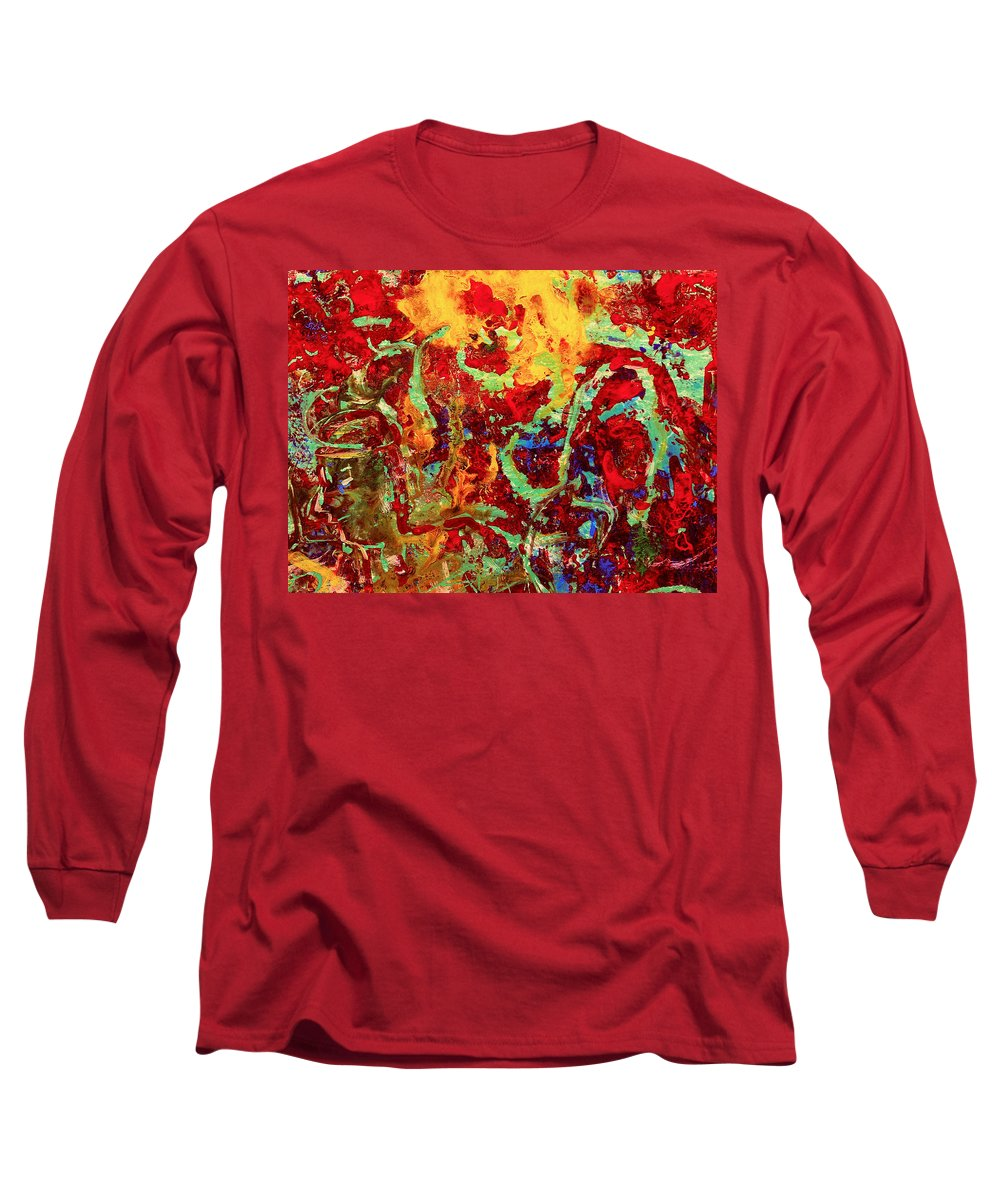 Abstract Long Sleeve T-Shirt featuring the painting Walking In The Garden by Natalie Holland