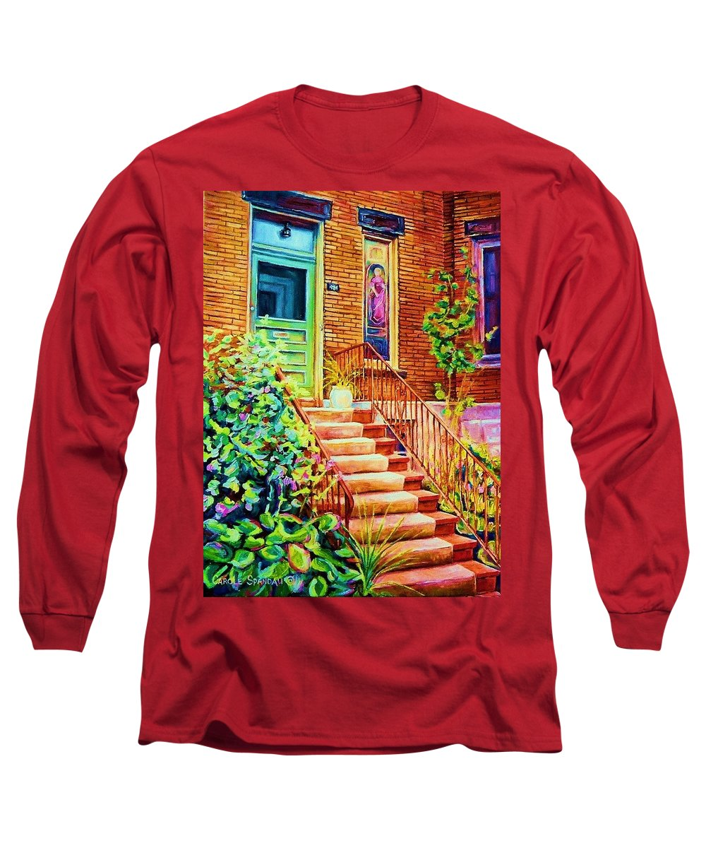 Westmount Home Long Sleeve T-Shirt featuring the painting Westmount Home by Carole Spandau