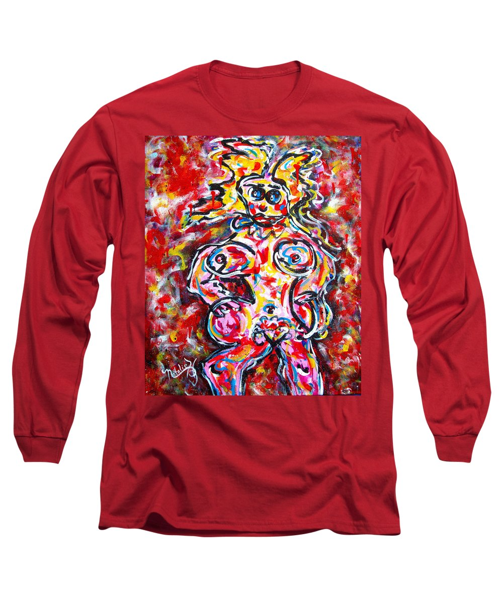 Abstracts Long Sleeve T-Shirt featuring the painting What Are You Looking At by Natalie Holland