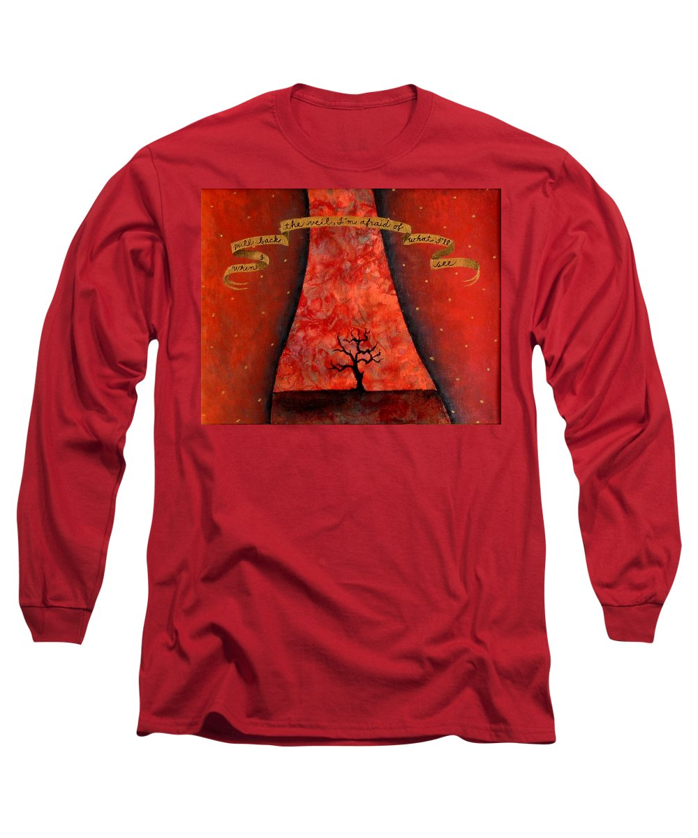 Landscape Long Sleeve T-Shirt featuring the painting When I Pull Back The Veil by Pauline Lim