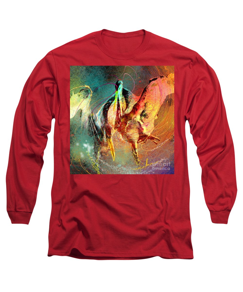 Miki Long Sleeve T-Shirt featuring the painting Whirled In Digital Rainbow by Miki De Goodaboom