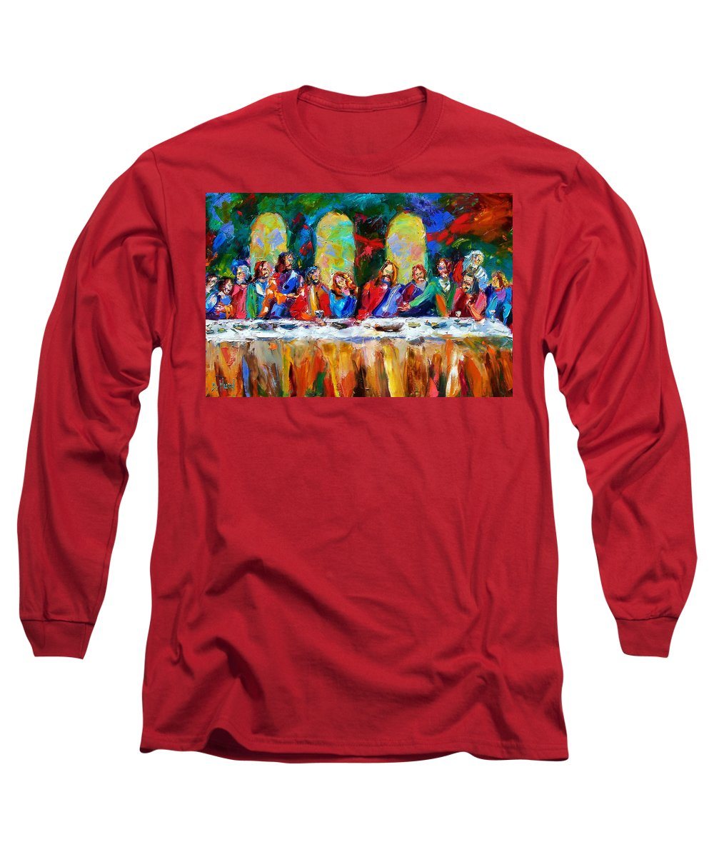 Last Supper Long Sleeve T-Shirt featuring the painting Who Among Us by Debra Hurd