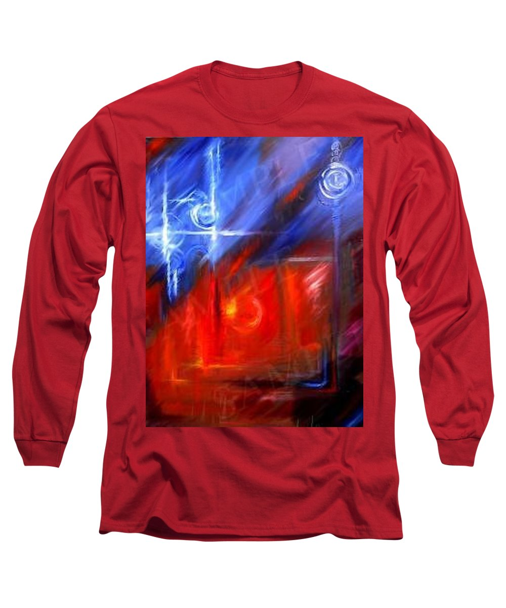 Abstracts Long Sleeve T-Shirt featuring the painting Windows by James Christopher Hill