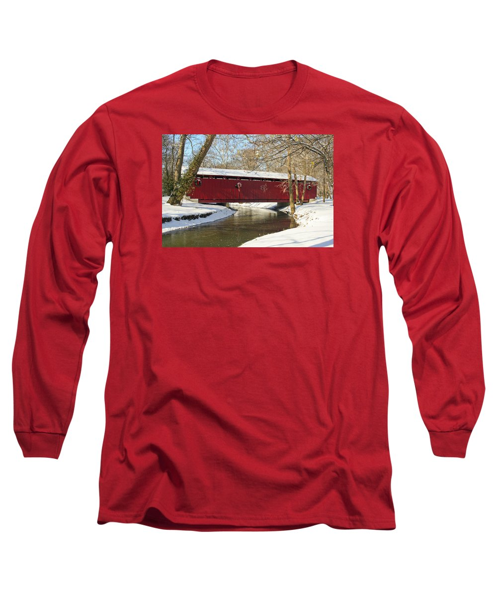 Covered Bridge Long Sleeve T-Shirt featuring the photograph Winter Bridge by Margie Wildblood