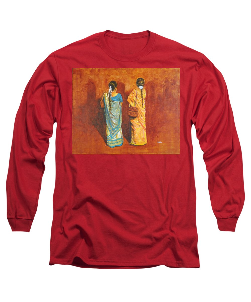 Women Long Sleeve T-Shirt featuring the painting Women In Sarees by Usha Shantharam
