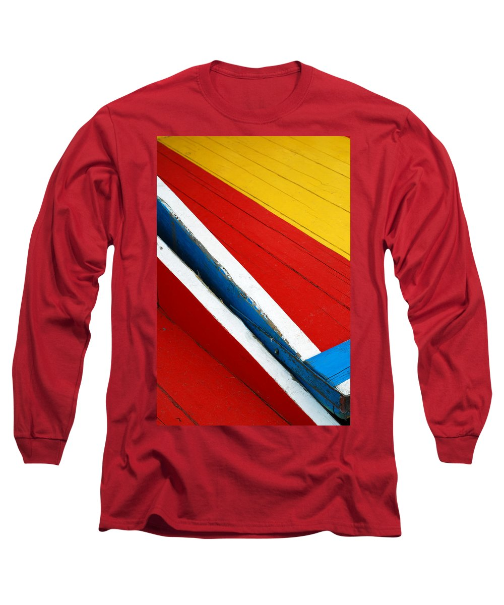 Red Long Sleeve T-Shirt featuring the photograph Xochimilco Boat Abstract 1 by Skip Hunt