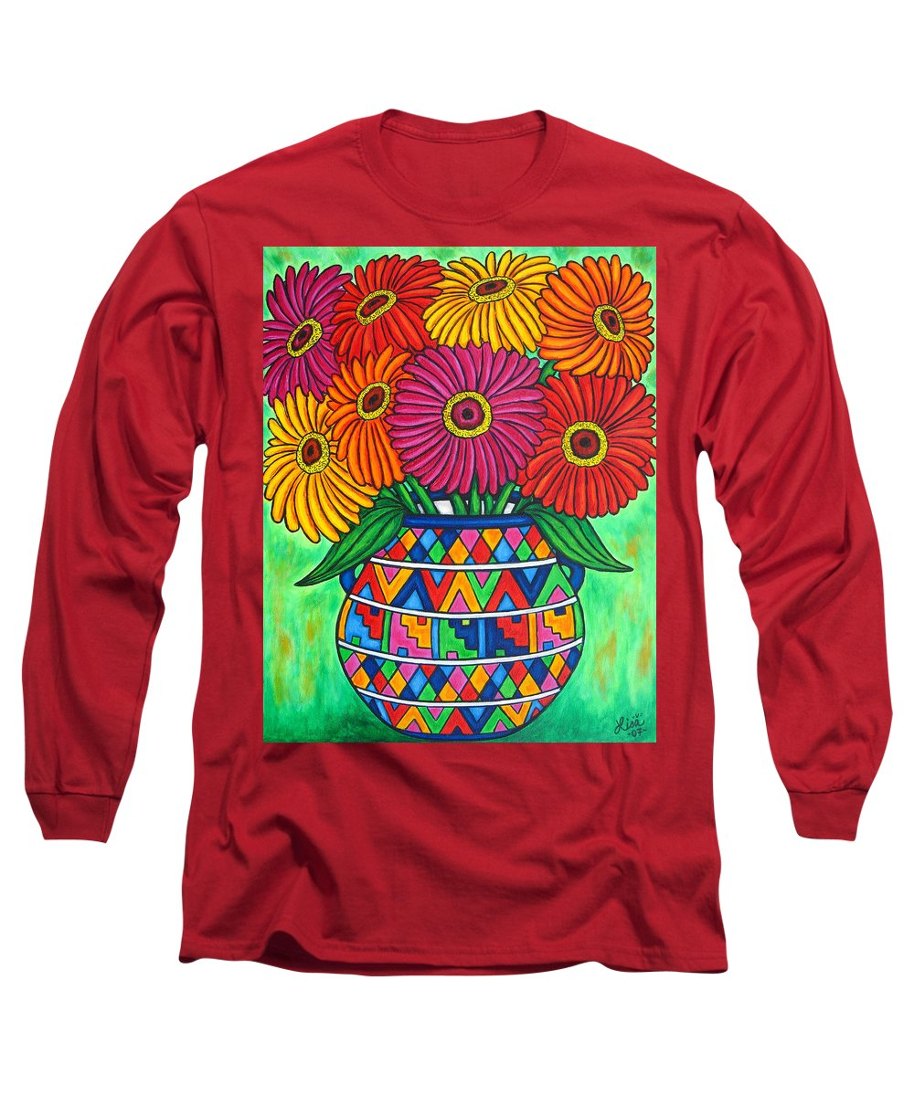 Zinnia Long Sleeve T-Shirt featuring the painting Zinnia Fiesta by Lisa Lorenz