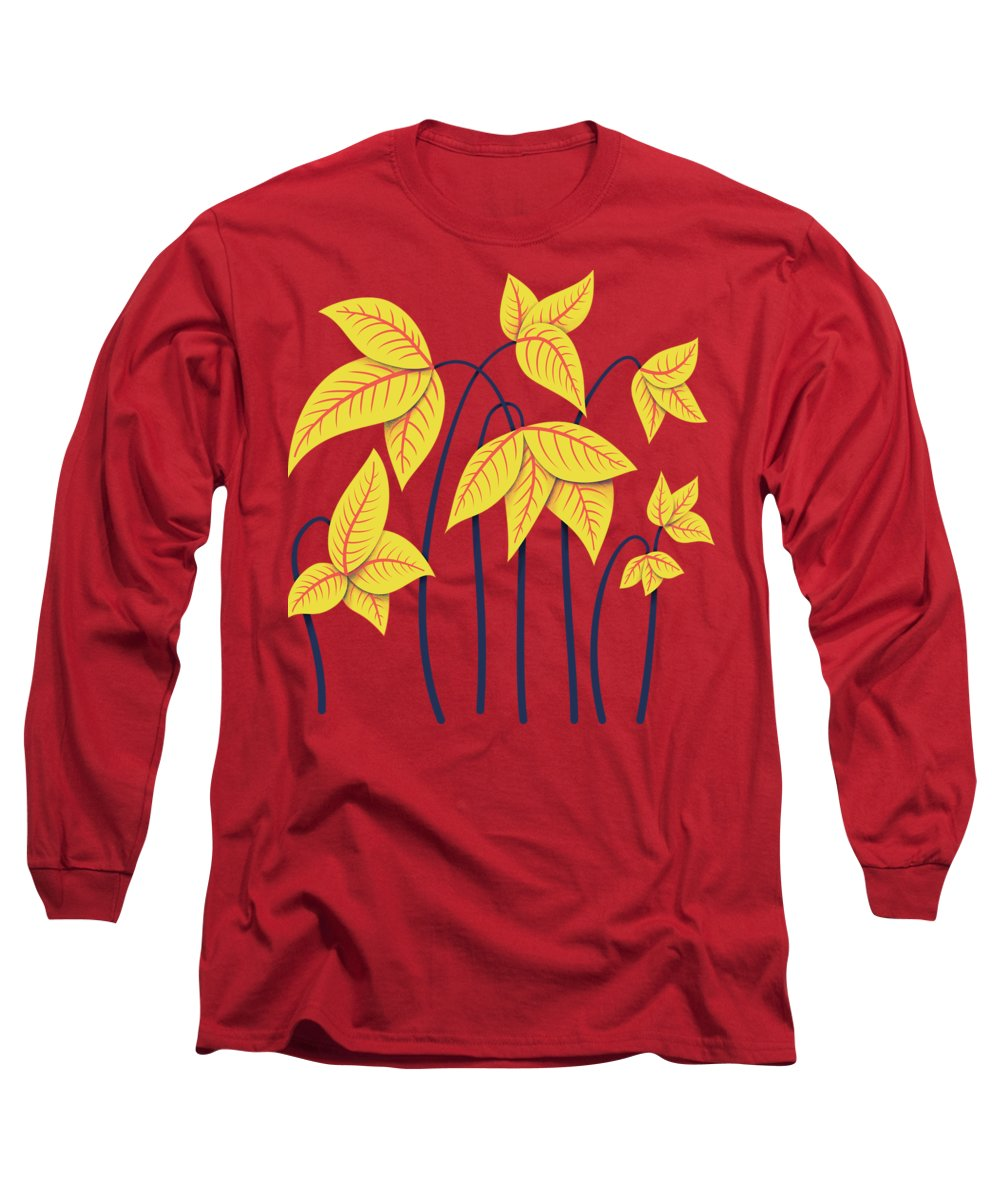Flower Long Sleeve T-Shirt featuring the digital art Abstract Flowers Geometric Art In Vibrant Coral And Yellow by Boriana Giormova