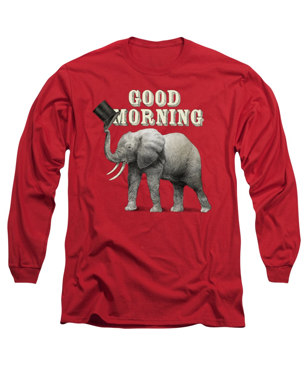 Elephant Long Sleeve T-Shirt featuring the drawing Good Morning by Eric Fan