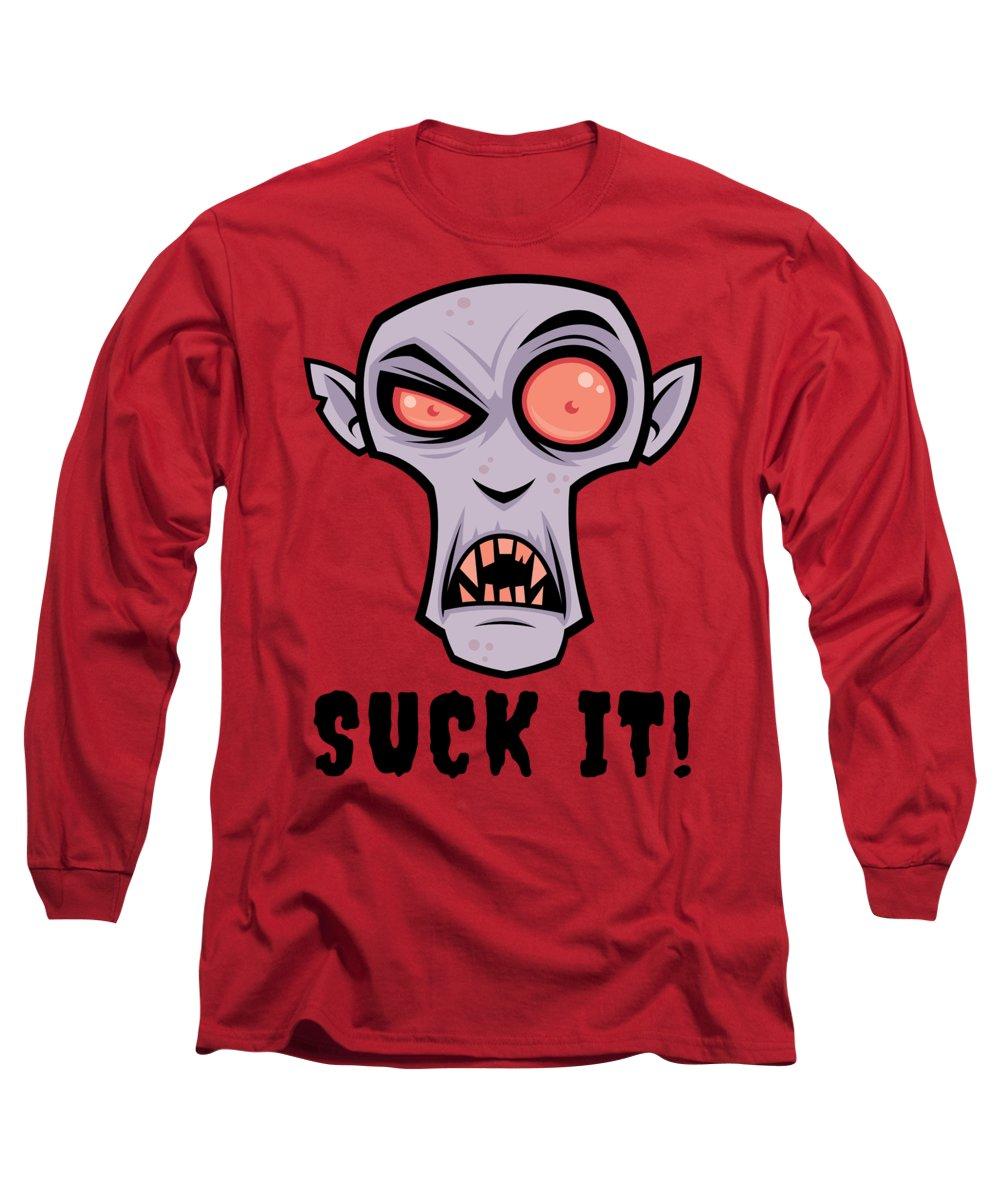 Cartoon Long Sleeve T-Shirt featuring the digital art Creepy Vampire Cartoon with Suck It Text by John Schwegel