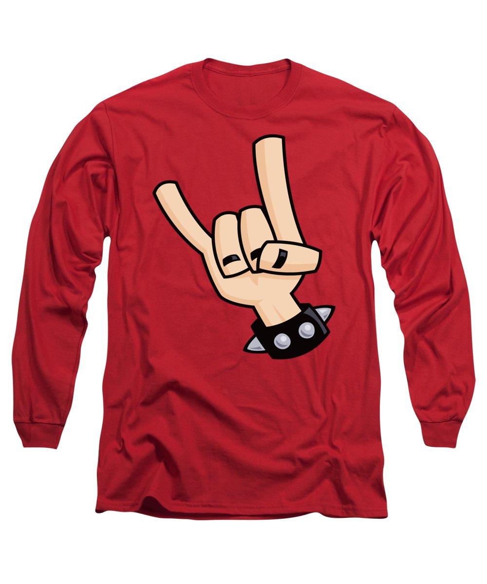Rock Long Sleeve T-Shirt featuring the digital art Devil Horns by John Schwegel