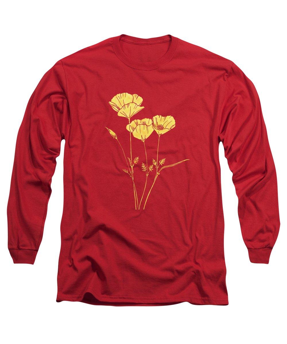 California Long Sleeve T-Shirt featuring the painting Golden California Poppy by Masha Batkova