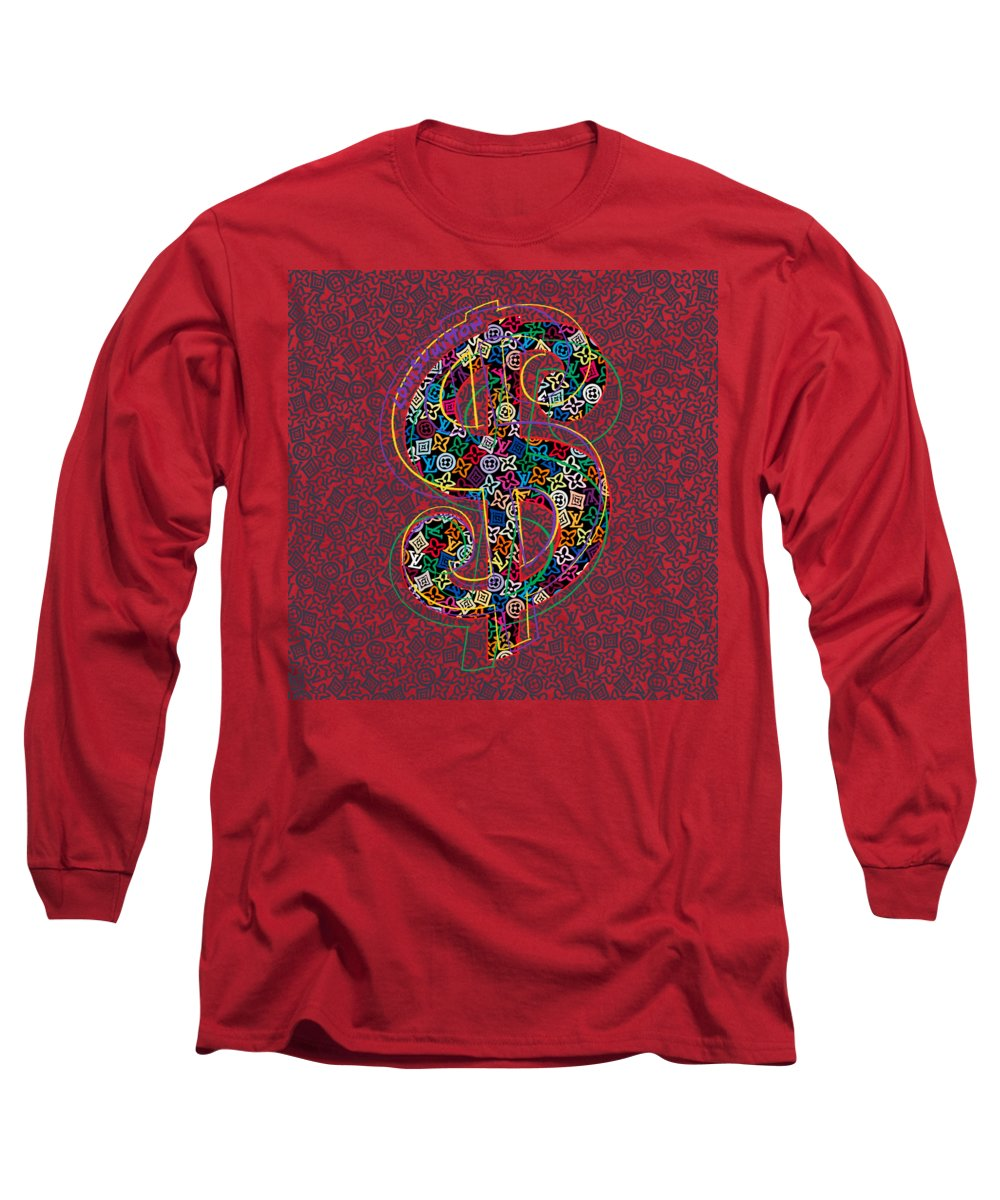 Lv Long Sleeve T-Shirt featuring the painting Louis Vuitton Dollar Sign-7 by Nikita
