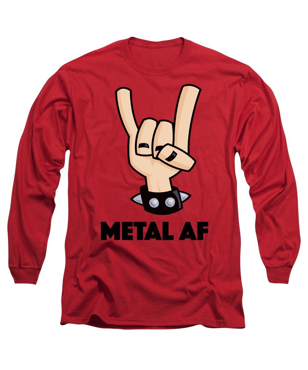 Rock Long Sleeve T-Shirt featuring the digital art Metal AF Devil Horns by John Schwegel
