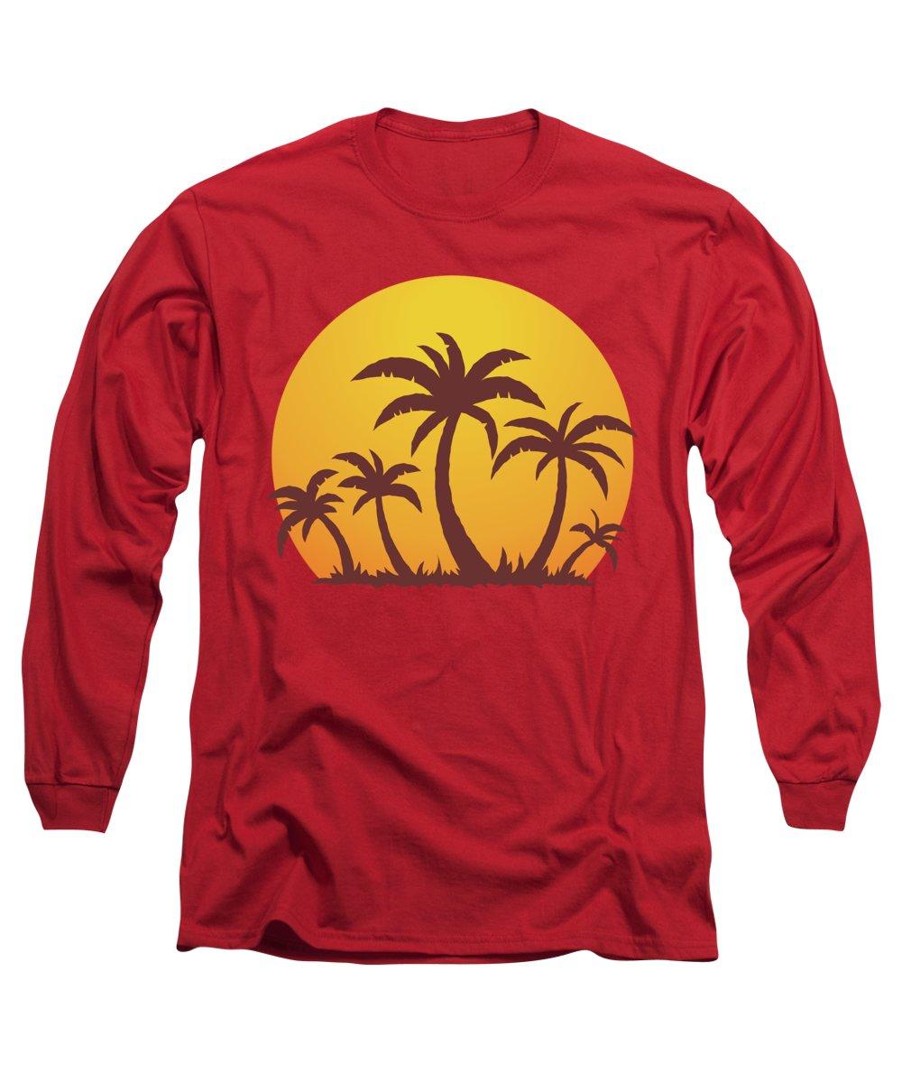 Sea Long Sleeve T-Shirt featuring the digital art Palm Trees and Sun by John Schwegel