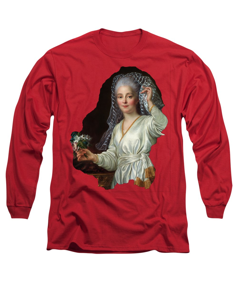Portrait Of A Young Woman As A Vestal Virgin Long Sleeve T-Shirt featuring the painting Portrait Of A Young Woman As A Vestal Virgin By Francois Hubert Drouais by Xzendor7