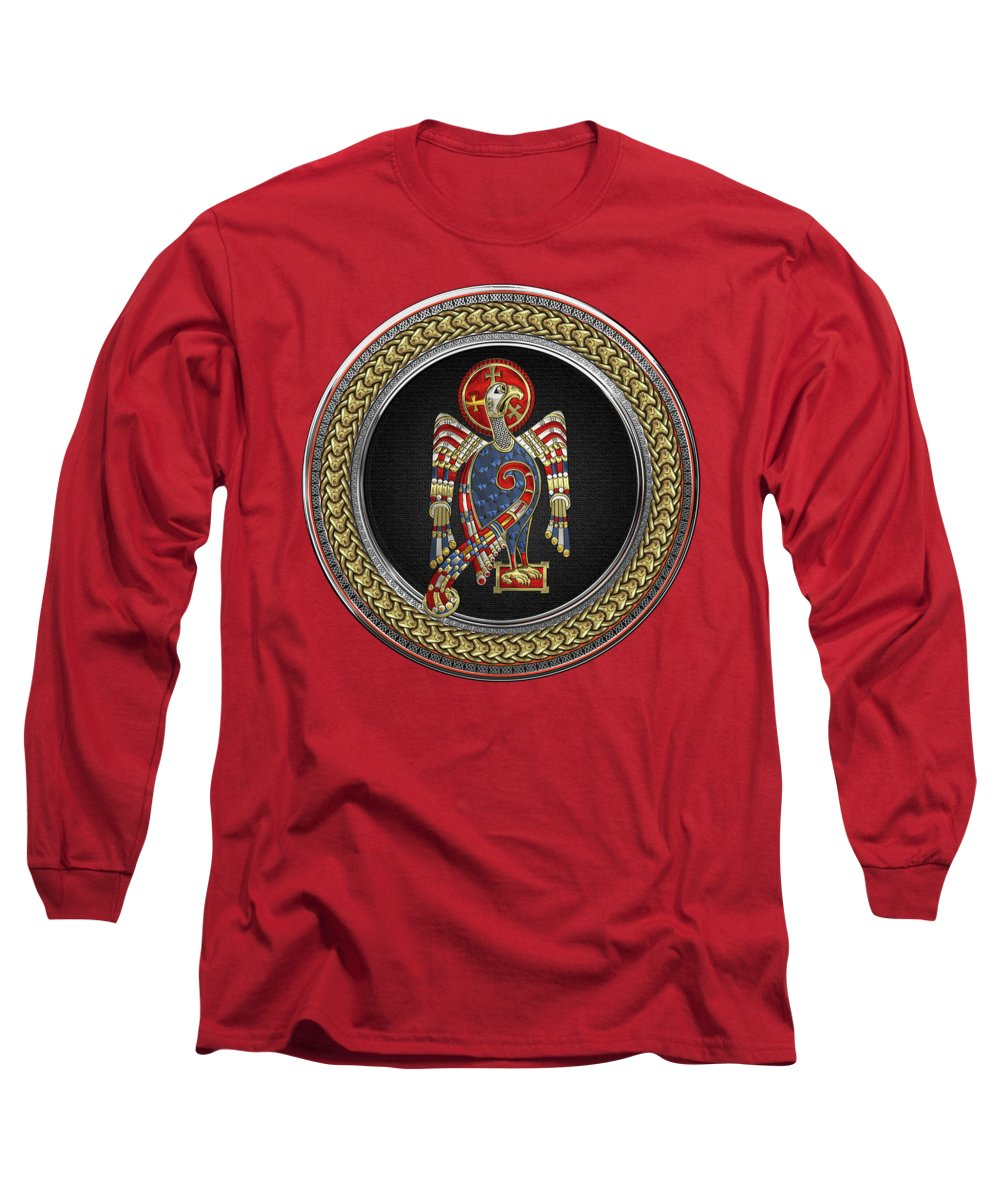 'celtic Treasures' Collection By Serge Averbukh Long Sleeve T-Shirt featuring the digital art Sacred Celtic Eagle Over Gold Silver And Black Medallion On Red Leather by Serge Averbukh