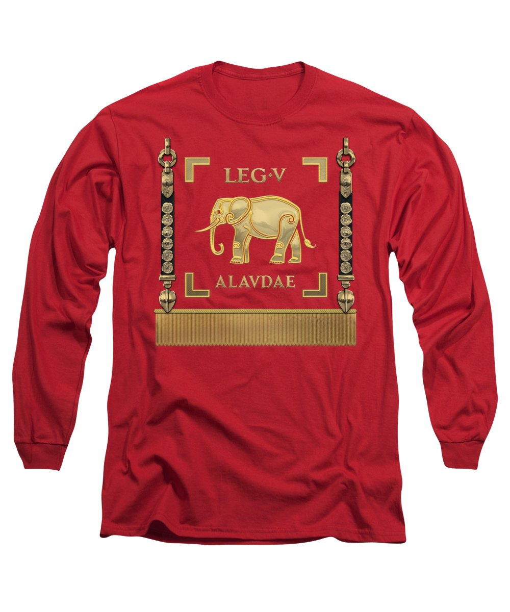 'rome' Collection By Serge Averbukh Long Sleeve T-Shirt featuring the digital art Standard Of The Lark-crested Fifth Legion - Vexillum Of Legio V Alaudae by Serge Averbukh